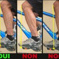 La bonne position du pied sur une pédale de vélo