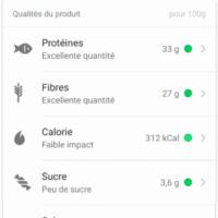Le résultat de Yuka pour les barres protéinés de Foodspring
