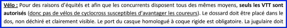 Lors du duathlon de Sartrouville les cyclo-cross sont interdits par rapport aux VTT