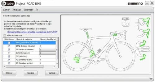 Le logiciel Shimano e-tube di2