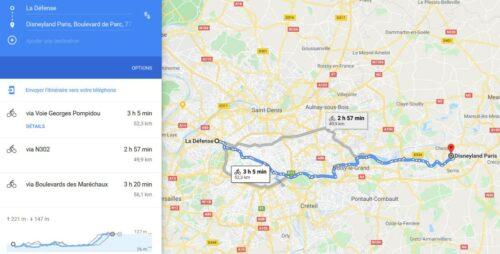 Utilisation de Google Maps pour un trajet en vélo de la Défense vers Disney