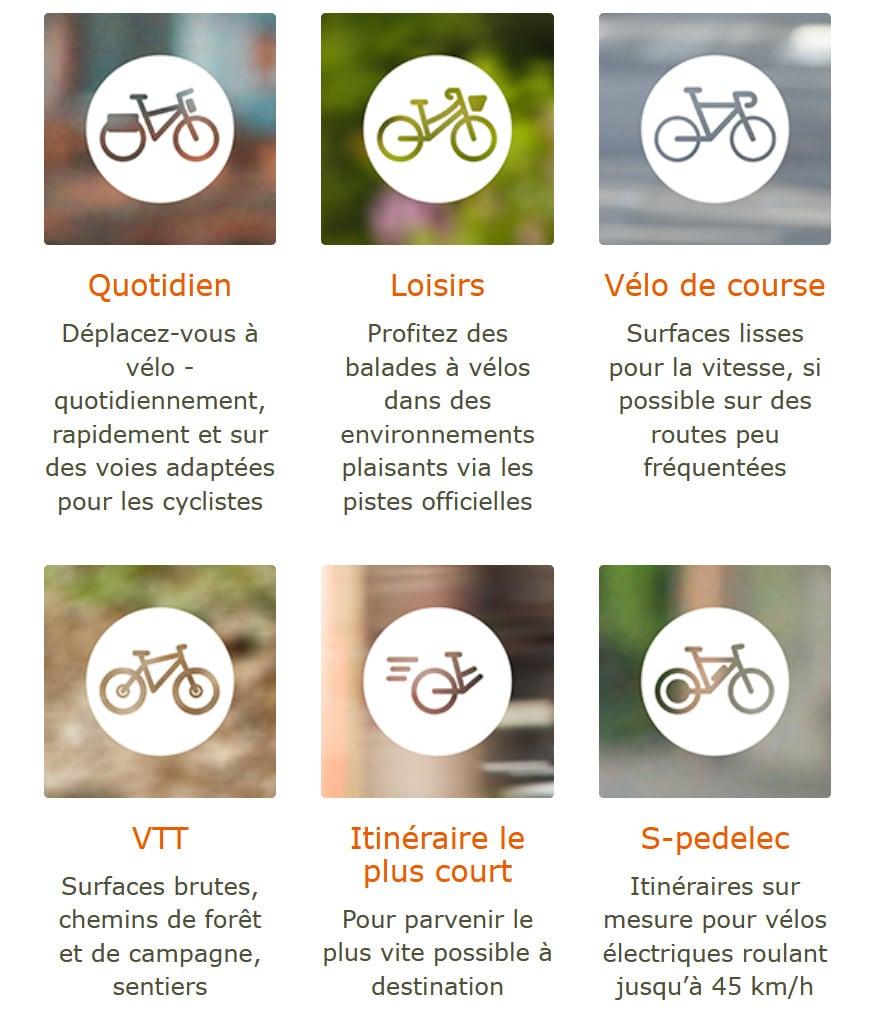 Naviki propose différents parcours suivant le type de vélo