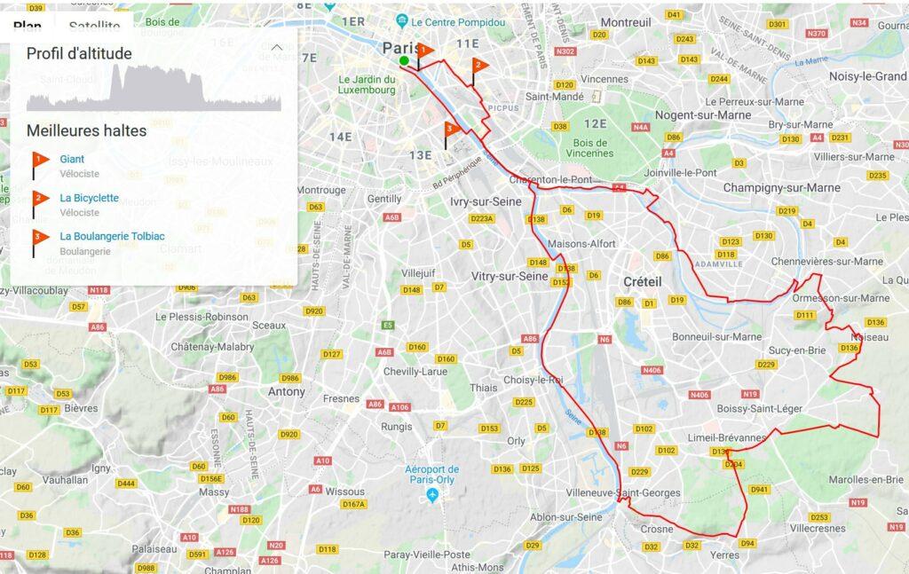 Sortie vélo en partant du Sud-Est de Paris pour 60 km