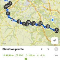 Un tracé pour vélo en utilisant l'application Komoot