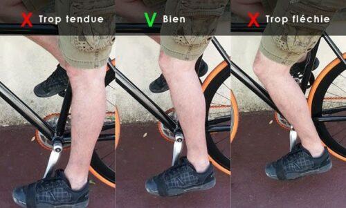 Bien régler sa hauteur de selle pour ne pas avoir la jambe trop tendue ou trop fléchie