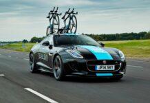 La Jaguar pour transporter des vélos de la Team Sky