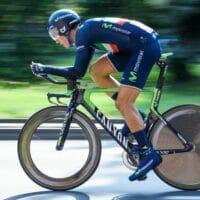 Un vélo de triathlon lors d'une compétition