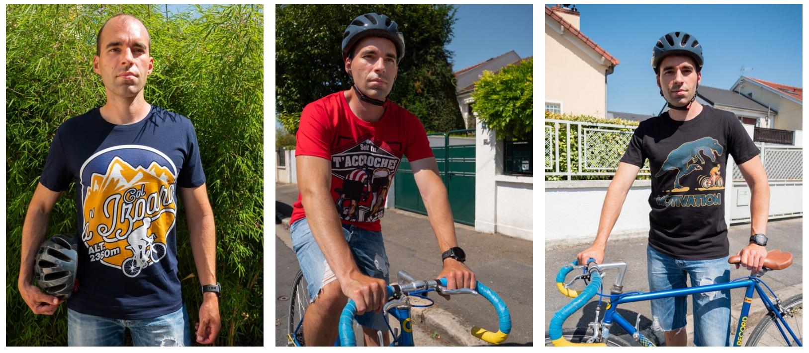 Ludo qui roule lors d'une compétition de vélo