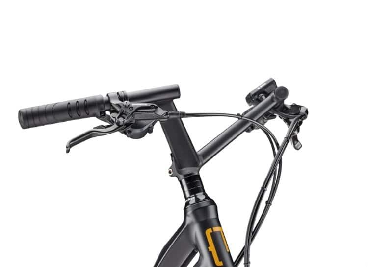 Zoom sur un cintre de vélo (guidon)