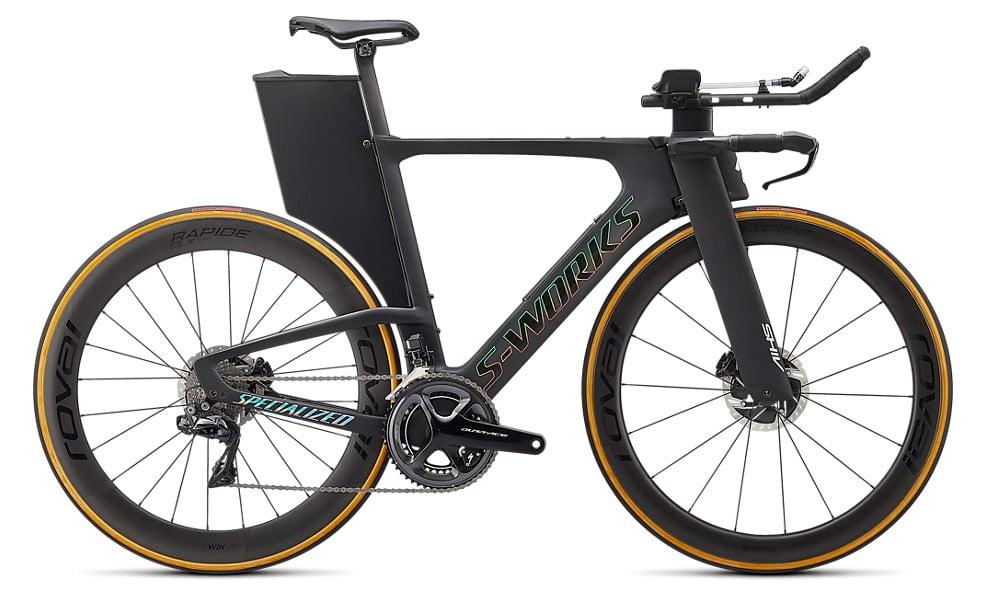 Un vélo de Triathlon S-Works Shiv Disc en couleur Carbon