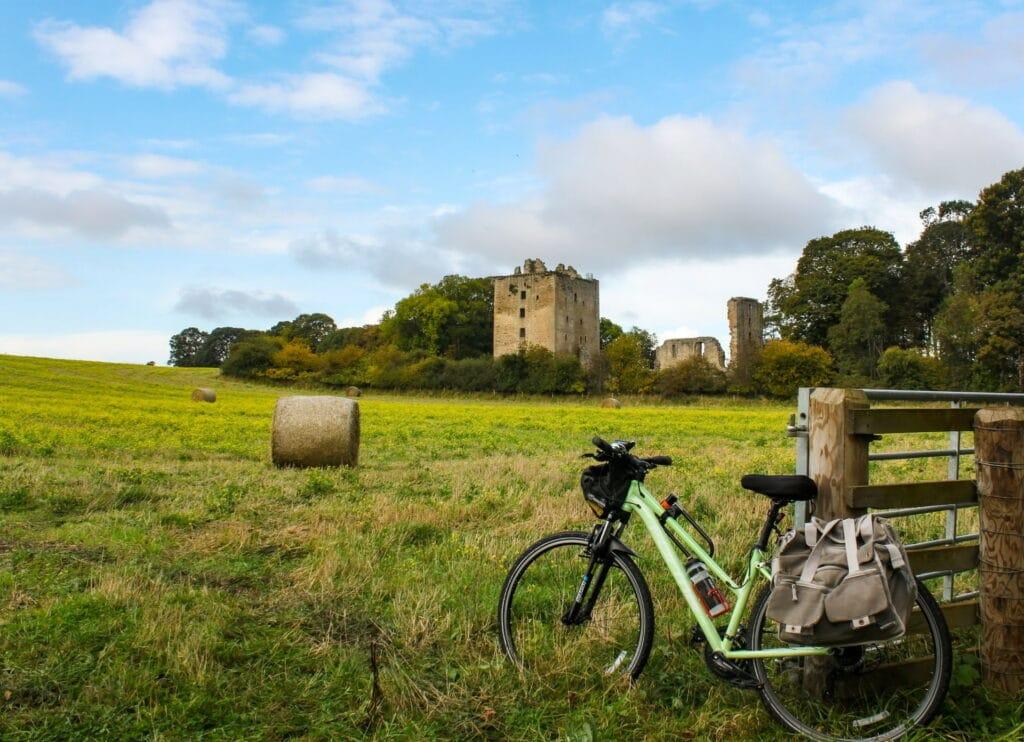 Un vélo préparé pour le bikepacking devant un champs d'herbe