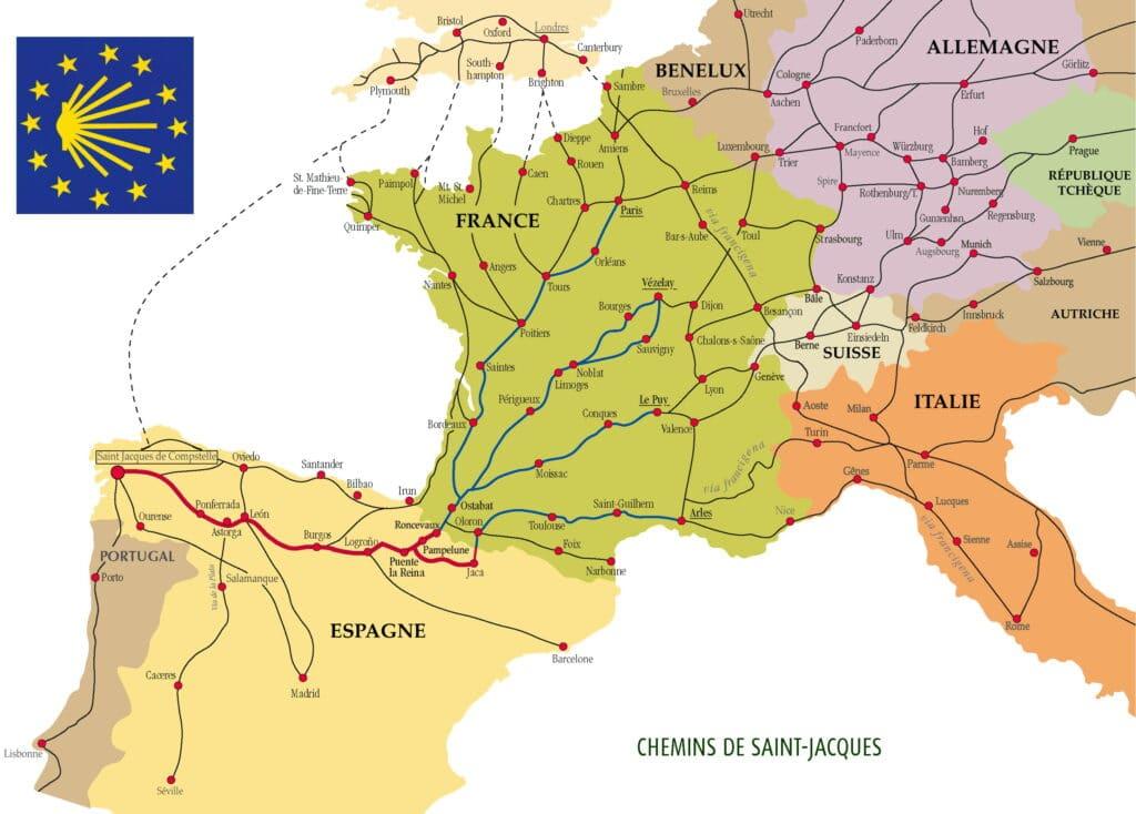 La carte avec les itinéraires depuis la France vers Saint-Jacques de Compostelle