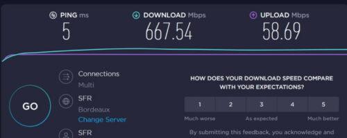 Mon débit de connexion sur Speedtest avec la fibre coaxial SFR