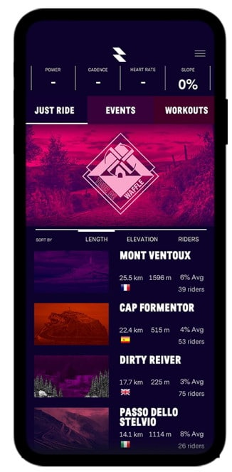 La vue mobile du jeu RGT Cycling