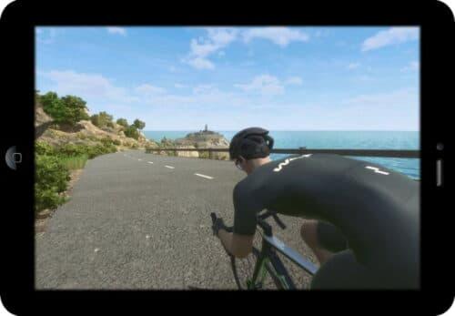 Le jeu RGT Cycling vue d'une tablette