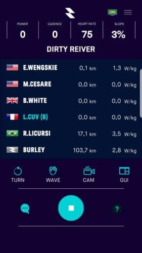 L'interface du jeu sous Mobile App avec la liste des cyclistes