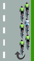 Le cycliste blanc descend par la droite