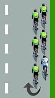 Le cycliste blanc se retrouve en queue du peloton à droite