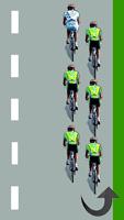 Le cycliste blanc est en tête du peloton à gauche