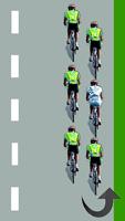 Le cycliste blanc est au milieu du peloton à droite
