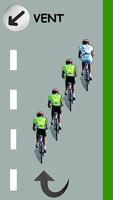 Le cycliste blanc est devant en éventail par la droite