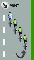 Le cycliste blanc est leader par la gauche en éventail