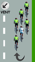 Le cycliste blanc se décale vers la gauche
