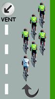 Le cycliste blanc est en queue de peloton